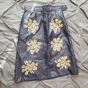 Vintage Blue Vegan Leather Pencil Skirt